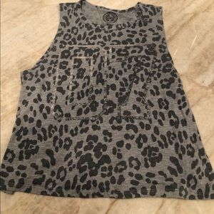 SO Girl's Top Animal Print Size M Gray and Black